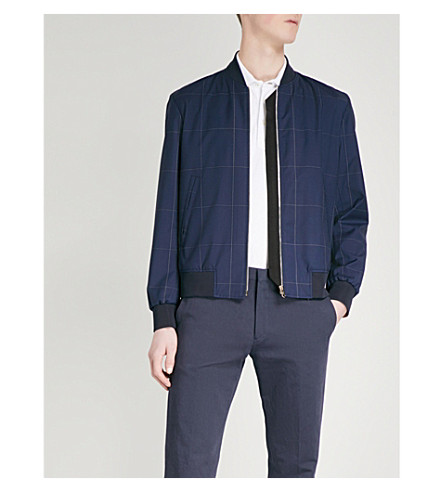 PAUL SMITH Windowpane-pattern wool bomber jacket (Navy