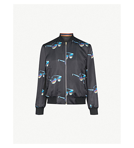 PAUL SMITH Sunglasses-print satin bomber jacket (Black