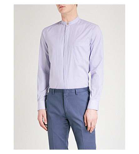 PAUL SMITH Striped tailored-fit cotton shirt (Blue