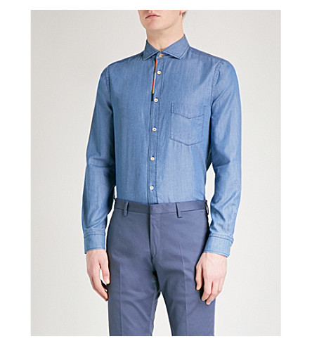 PAUL SMITH Artist Stripe regular-fit denim shirt (Chambray