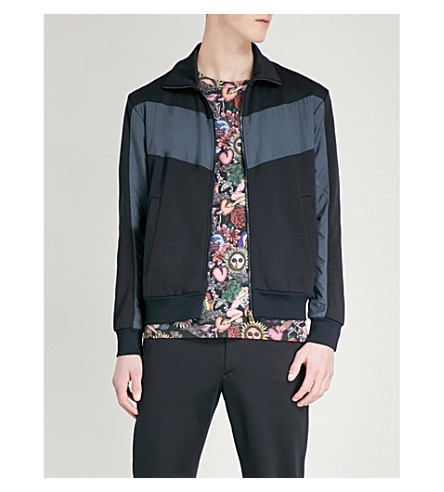 PAUL SMITH Funnel-neck cotton-blend jacket (Navy