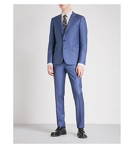 PAUL SMITH Sharkskin soho-fit wool suit (Blue