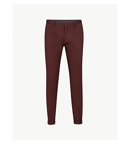 PAUL SMITH Slim-fit tapered cotton-twill chinos (Damson