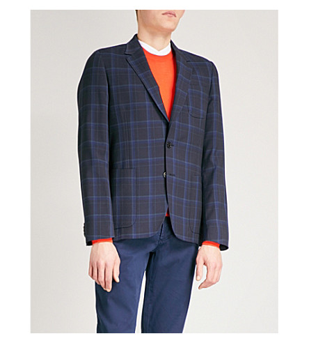 PAUL SMITH Checked Soho-fit stretch-wool jacket (Blue