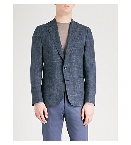 PAUL SMITH Hopsack-weave Soho-fit wool and linen-blend jacket (Navy/blue