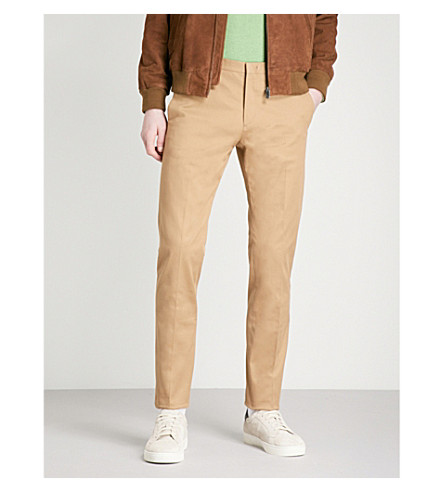 PAUL SMITH Slim-fit tapered stretch cotton-twill trousers (Beige
