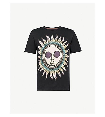 PAUL SMITH Sun-print cotton-jersey T-shirt (Black