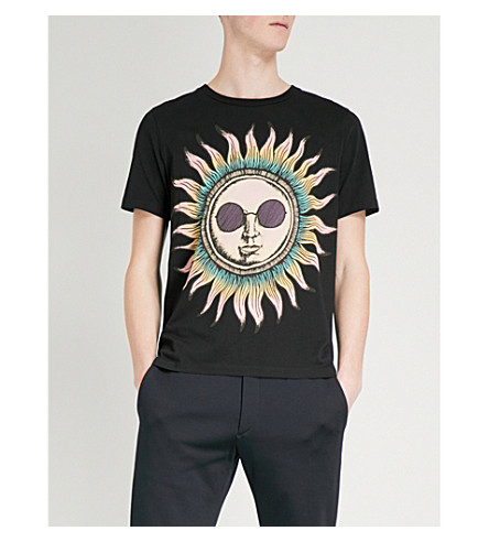 PAUL SMITH Sun-print cotton-jersey T-shirt (Black