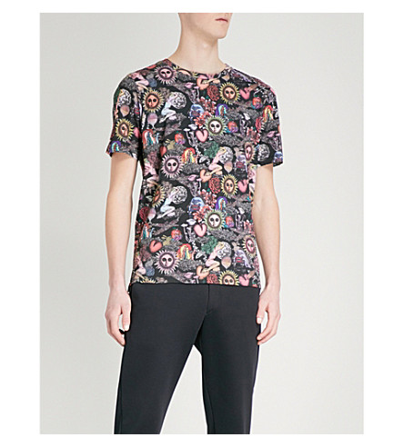 PAUL SMITH Psychedelic sun-print cotton-jersey T-shirt (Black