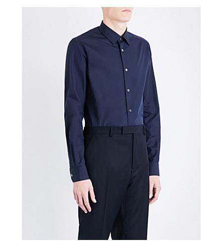 PAUL SMITH Striped-detail Soho-fit cotton-poplin shirt (Navy