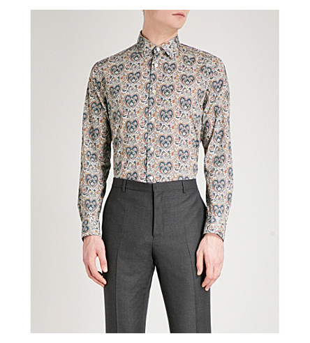 PAUL SMITH Paisley-print Soho-fit cotton shirt (Teal