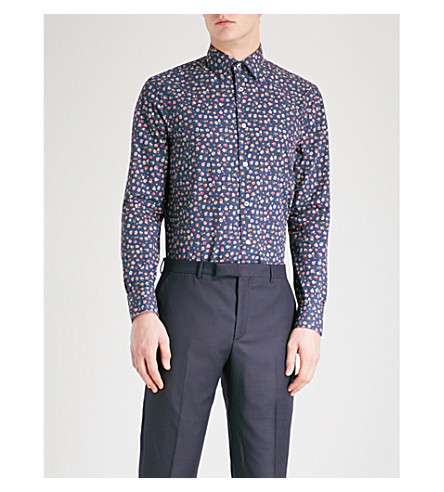 PAUL SMITH Floral-print Soho-fit cotton shirt (Navy
