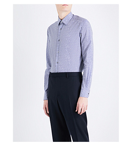 PAUL SMITH Swallow-patterned Soho-fit cotton shirt (Navy+2
