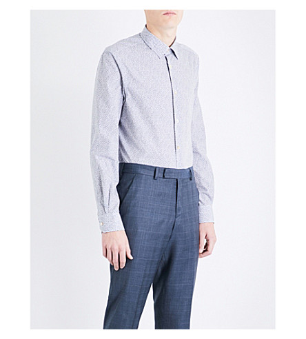PAUL SMITH Swallow-patterned Soho-fit cotton shirt (White