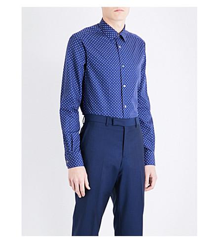 PAUL SMITH Polka-dot Soho-fit cotton shirt (Navy