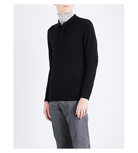 PAUL SMITH Polo-collar merino wool jumper (Black