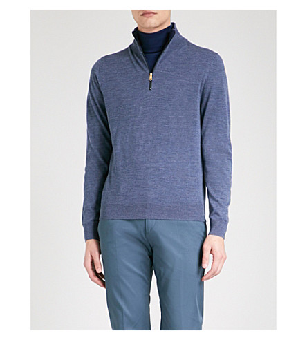 PAUL SMITH Stand-collar merino wool jumper (Blue+melange