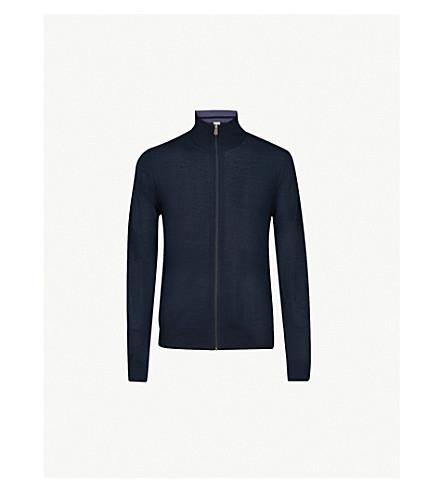 PAUL SMITH Funnel neck wool cardigan (Navy