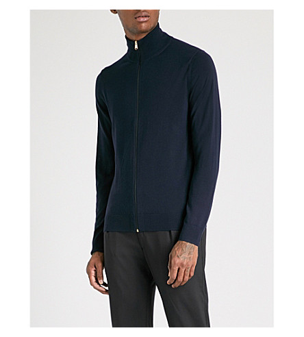 PAUL SMITH Funnel neck wool cardigan (Navy