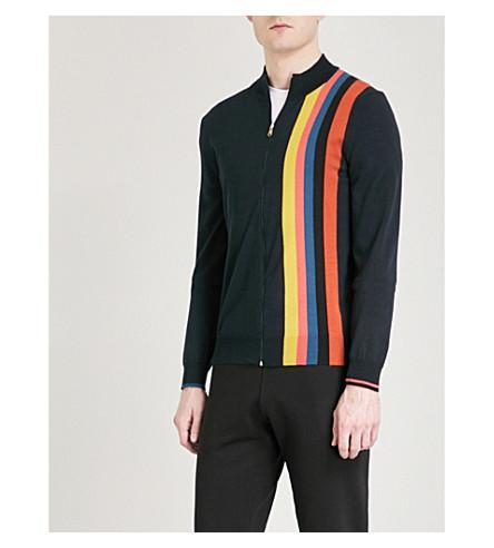 PAUL SMITH Striped wool cardigan (Navy