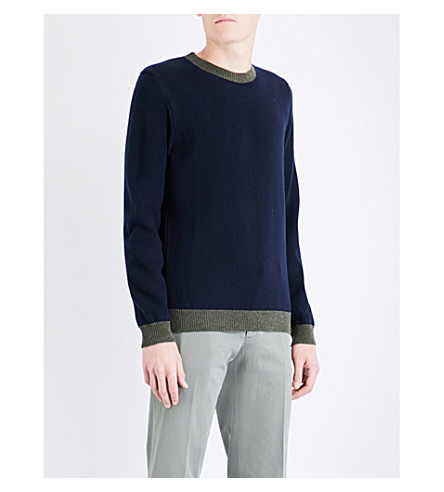 PAUL SMITH Contrasting-trims knitted wool jumper (Navy