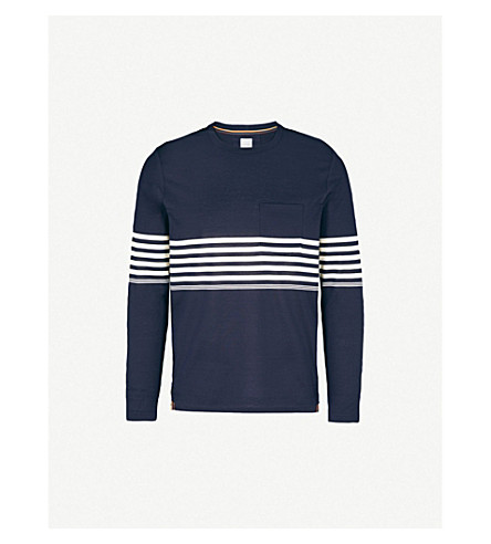 PAUL SMITH Striped cotton-jersey top (Navy
