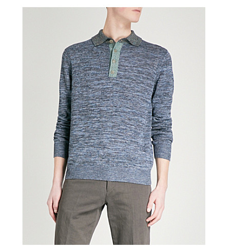PAUL SMITH Knitted cotton and linen-blend polo jumper (Blue