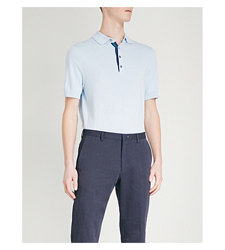 PAUL SMITH Waffle-knit cotton polo shirt (Sky