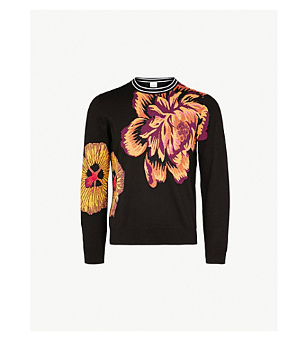 PAUL SMITH Floral-intarsia cotton jumper (Black