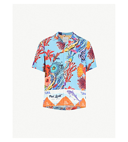 PAUL SMITH Ocean-print regular-fit woven shirt (Blue
