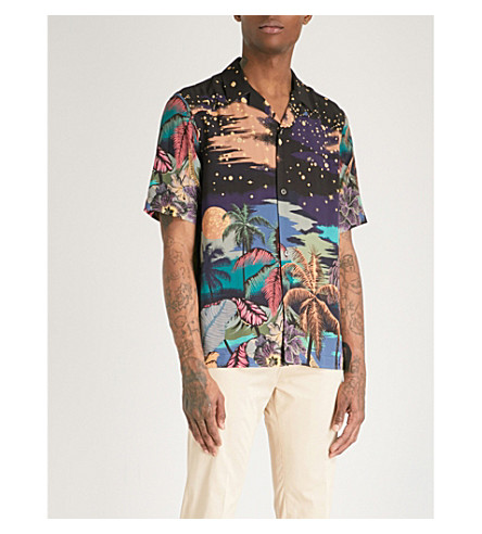 PAUL SMITH Night-print regular-fit cotton shirt (Black
