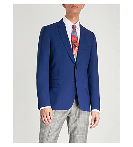 PAUL SMITH Hopsack weave Soho-fit wool jacket (Open+blue