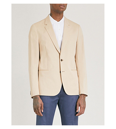 PAUL SMITH Tailored-fit stretch-cotton jacket (Beige