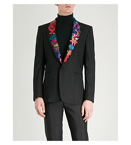 PAUL SMITH Floral-embroidered wool jacket (Black