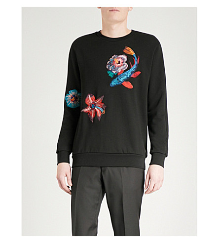 PAUL SMITH Fish and floral-embroidered cotton-jersey sweatshirt (Black