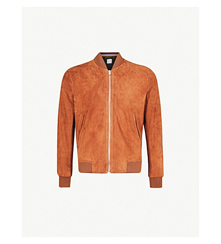 PAUL SMITH Stripe-trimmed suede bomber jacket (Tobacco