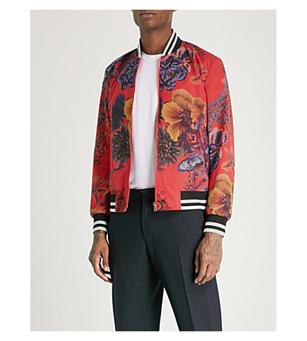 PAUL SMITH Floral-print shell bomber jacket (Pink+multi