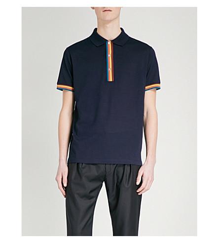 PAUL SMITH Striped cotton-piqué polo shirt (Navy