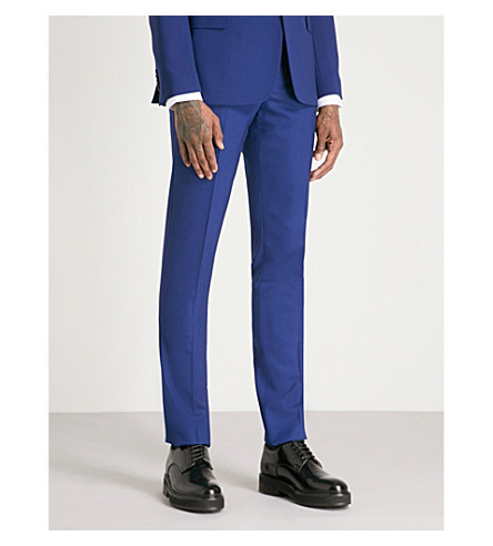 PAUL SMITH Soho-fit straight hopsack wool trousers (Open+blue