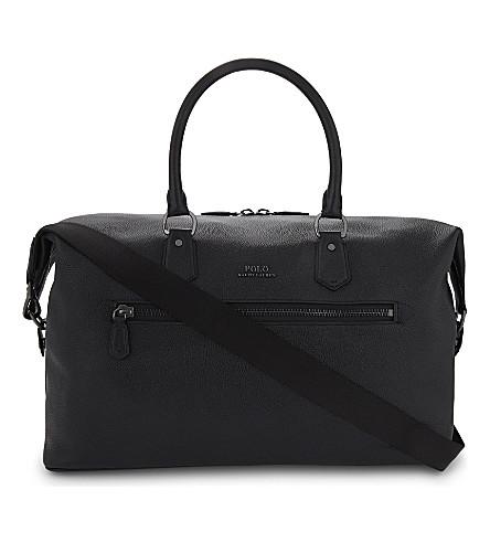 POLO RALPH LAUREN Grained leather duffel bag (Black