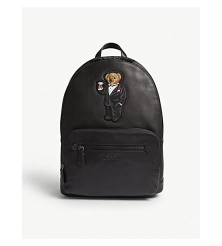 POLO RALPH LAUREN Bear leather backpack (Black