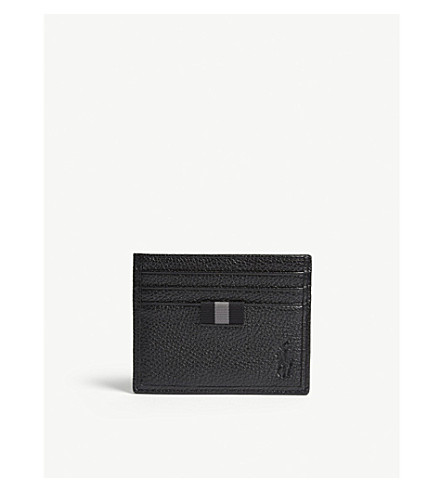 POLO RALPH LAUREN Pony grained leather card holder (Black