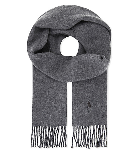 POLO RALPH LAUREN Two-tone wool-blend scarf (Fawn+grey+heather