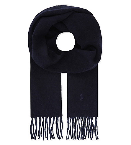 POLO RALPH LAUREN Two-tone wool-blend scarf (Hunter+navy