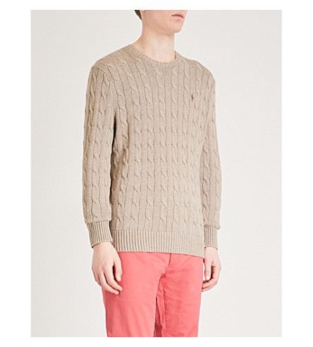 POLO RALPH LAUREN Cable-knit cotton jumper (Adirondack+heather