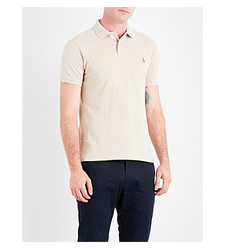 POLO RALPH LAUREN Embroidered-logo cotton-piqué polo shirt (Dune+tan+heathe