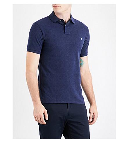POLO RALPH LAUREN Embroidered-logo cotton-piqué polo shirt (S.navy+ht