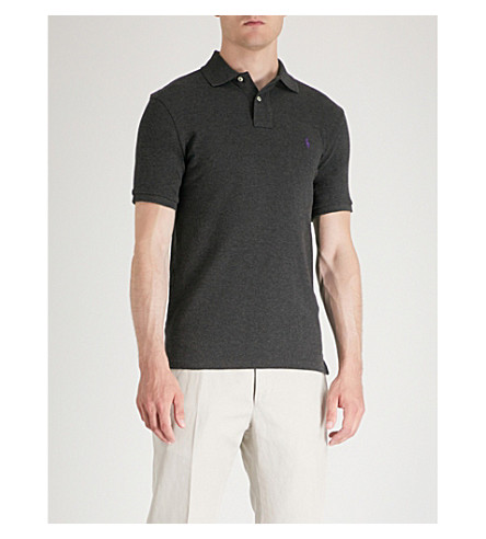 POLO grey fit LAUREN RALPH Dark piqu shirt heather cotton Slim polo q7fHq