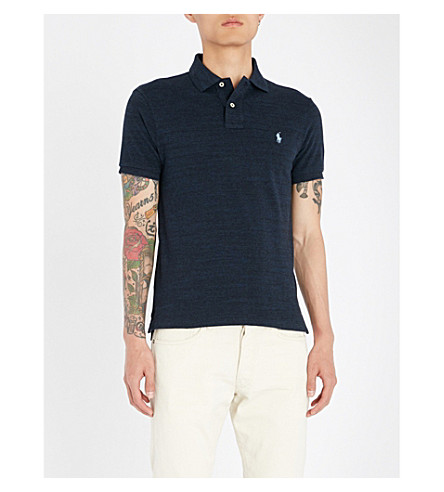 shirt LAUREN RALPH heather piqu cotton Slim POLO navy polo fit Worth Hq0waBwxS