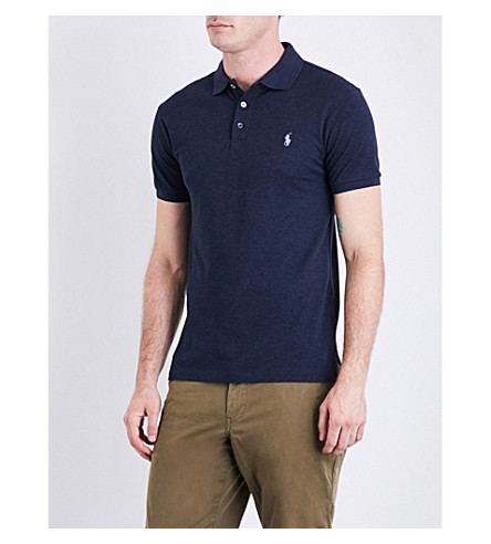 POLO RALPH LAUREN Logo-motif slim-fit stretch-cotton-piqué polo shirt (Winter+navy+hea